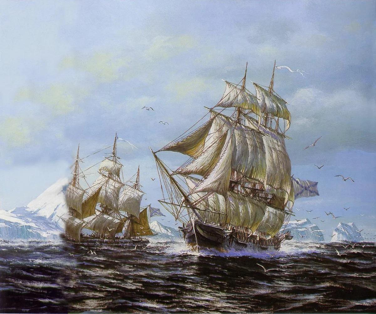 А.Заикин «Шлюпы «Восток» и «Мирный» у берегов Антарктиды»
