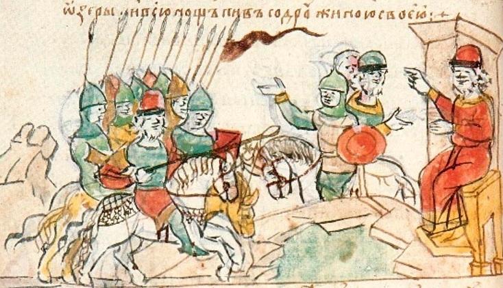 Битва под Любечем (1016). Печенеги, отрезанные озером от союзников. Радзивилловская летопись.