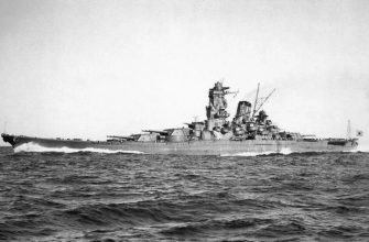 Imperial Japanese Navy's battle ship, Yamato running full-power trials in Sukumo Bay, October 30, 1941.