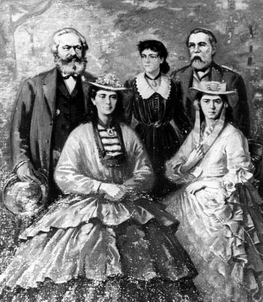 Карл Маркс и Фридрих Энгельс с дочерями