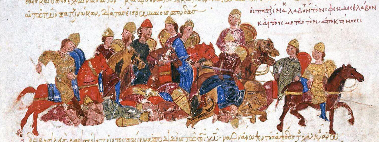 Печенеги убивают князя Святослава Игоревича. Миниатюра Мадридской рукописи хроники Иоанна Скилицы