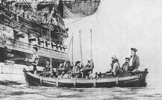Спасенный Селкирк (сидит справа) взят на борт герцога