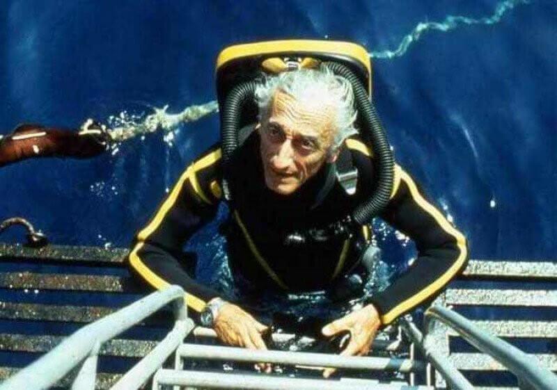 Жак ив Кусто с аквалангом