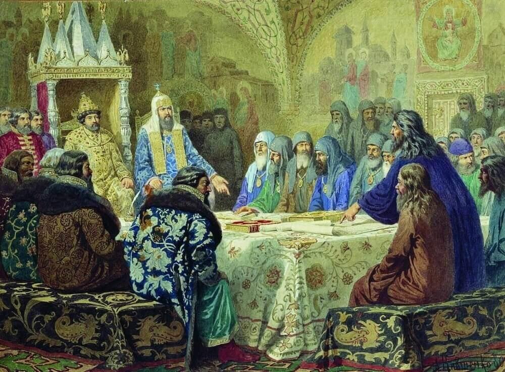 А. Д. Кившенко «Патриарх Никон представляет новые богослужебные тексты»