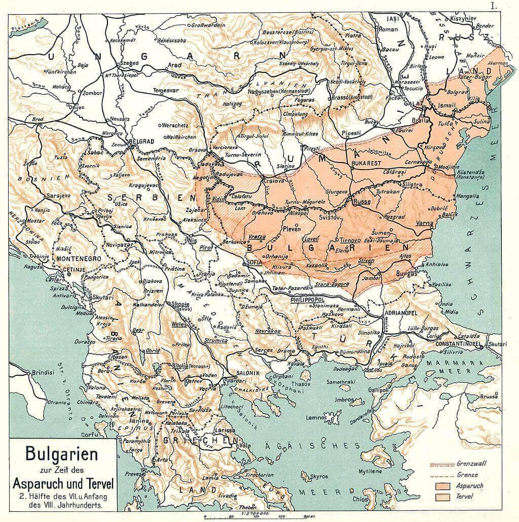 Болгария под Аспарухом, карта Димитра Розоффа