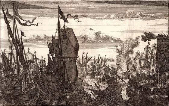 Генри Морган уничтожает испанский флот у озера Маракайбо, Венесуэла