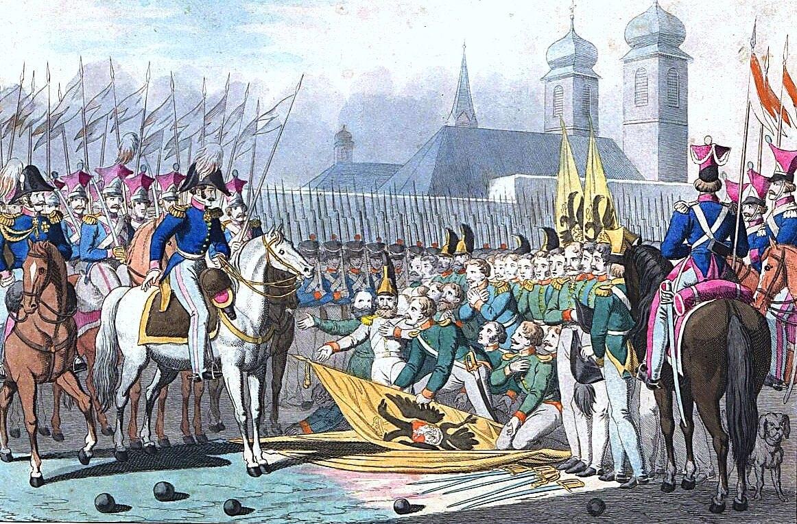 Георг Бенедикт Вундер «Низложение российских знамён после битвы около Вавра в 1831 году»