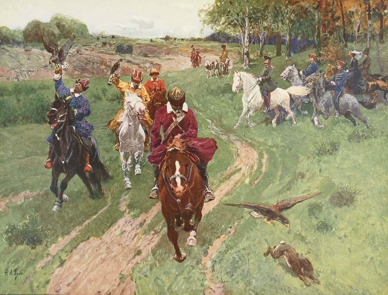 Картина Франца Рубо «Охота башкир с соколами в присутствии императора Александра II»