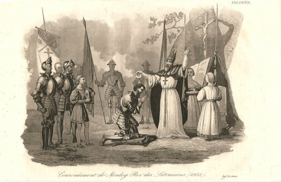 Коронация Миндовга. Гравюра из книги Леонарда Ходько «Полония», 1824