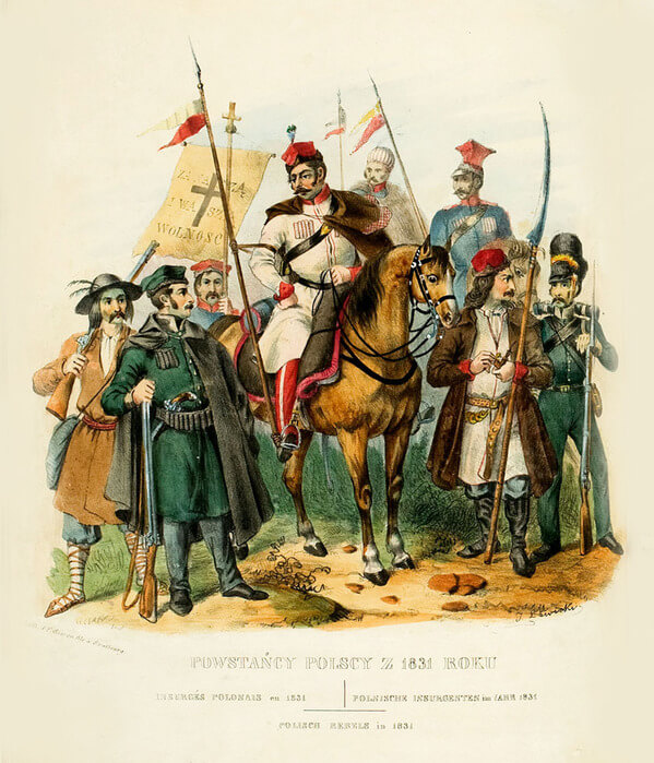 Костюмы польских повстанцев 1831 года. Литография Леона Зенковича