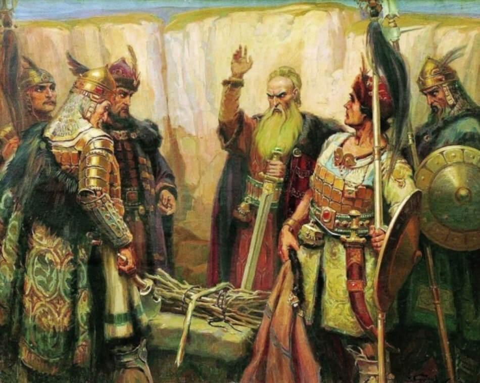 Кубрат и его сыновья. Картина Д. Гюдженова