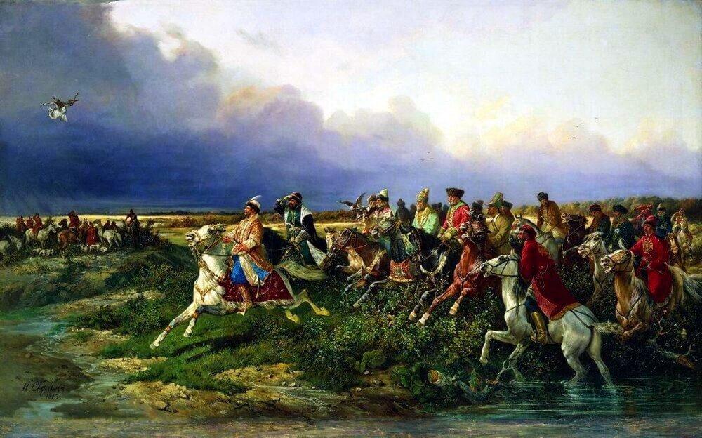 Николай Сверчков «Царь Алексей Михайлович с боярами на соколиной охоте близ Москвы»