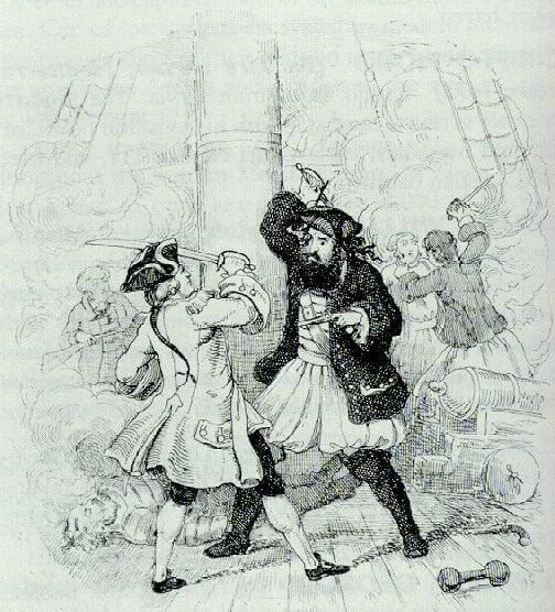 Схватка Черной Бороды с Робертом Мейнардом. Гравюра XVIII в.