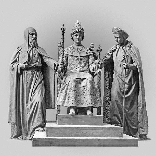 Скульптура патриарха Филарета, царя Михаила и его матери Марфы сделана для памятника по случаю 300-летия династии Романовых.