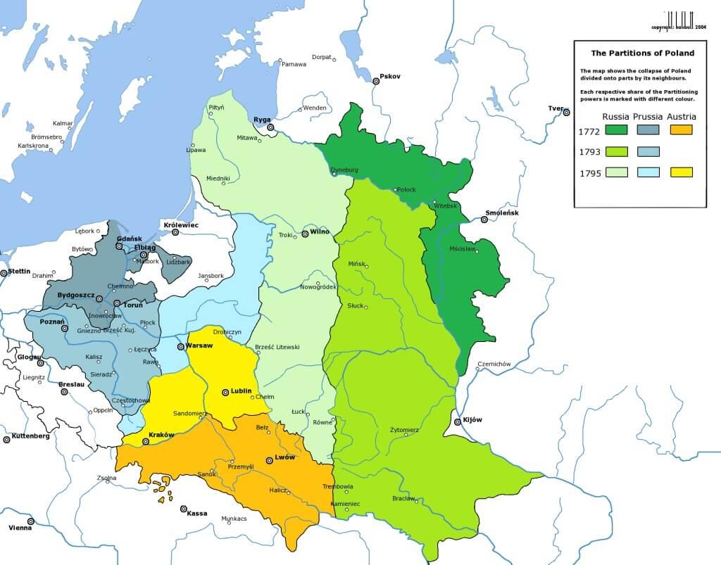 Три раздела союза Польши и Литвы на одной карте wikimedia.org
