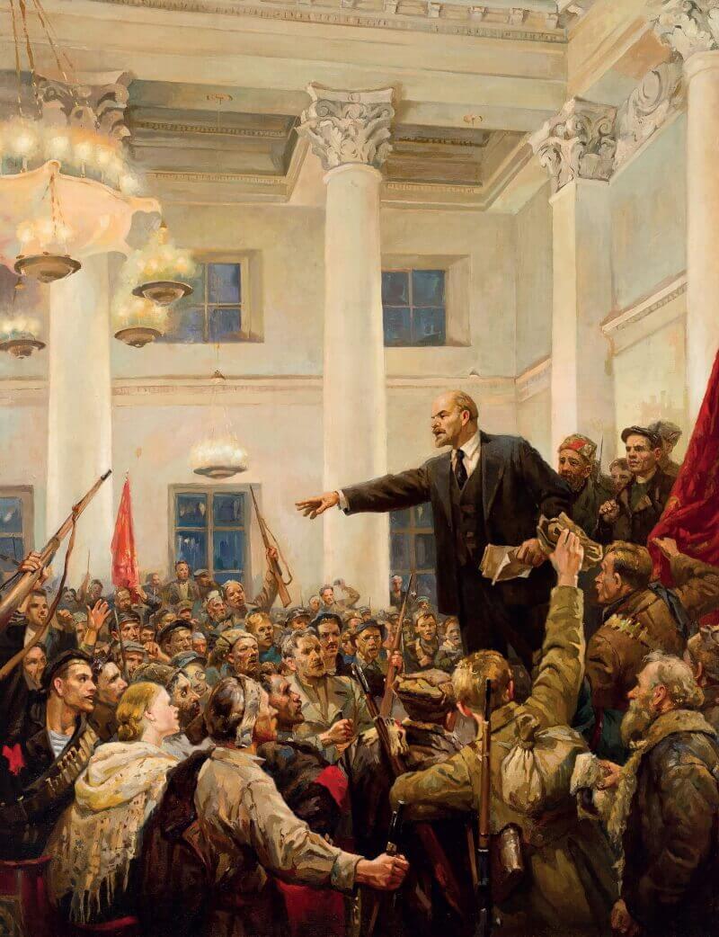 Владимир Серов Ленин провозглашает Советскую власть в Смольном дворце, Петроград, 1917