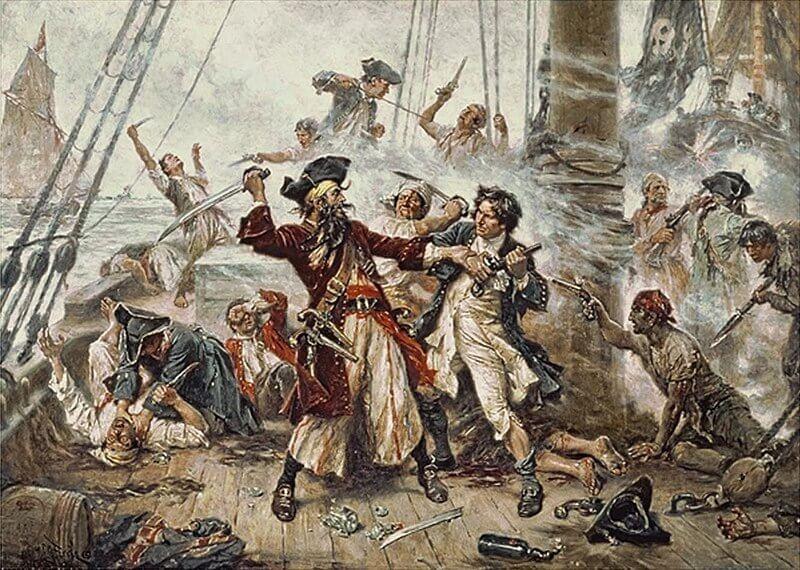 Захват пирата, Черная Борода, 1718 год, изображающий битву между пиратом черной бородой и лейтенантом Мейнардом в заливе Окракок