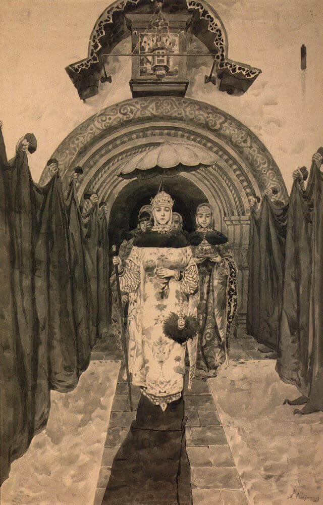 Андрей Рябушкин «Выход царицы Марии Ильиничны из церкви»