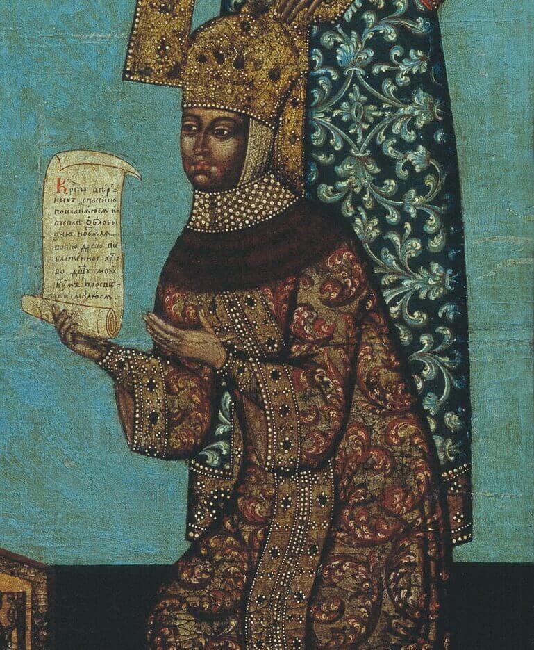 Фрагмент иконы «Кийский крест» 1787 г. с изображением Марии Милославской