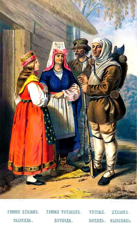 Густав-Федор Христианович Паули «Зыряне и вотяки в традиционной одежде, 1862 г.»