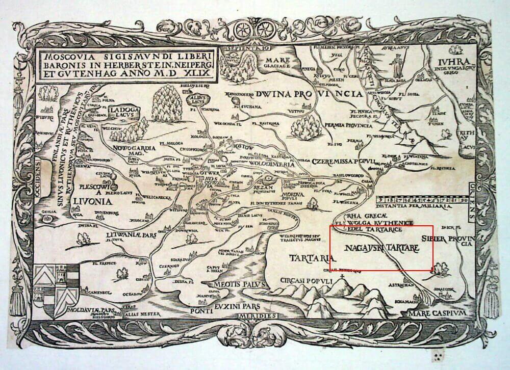 Карта Московии, опубликованная Герберштейном в 1549 г.
