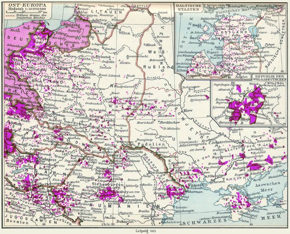 Расселение немцев в Центральной, Восточной и Юго-Восточной Европе в 1925 году