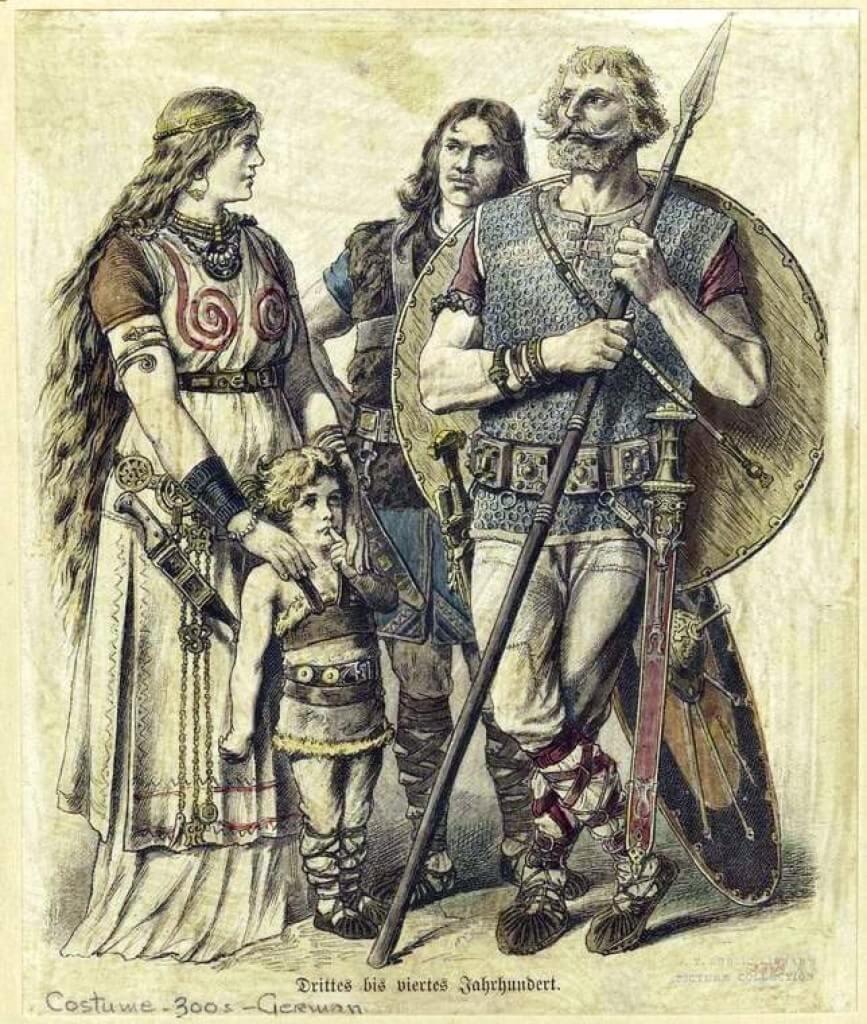 Семья германцев в 300-е годы н. э., историческая реконструкция