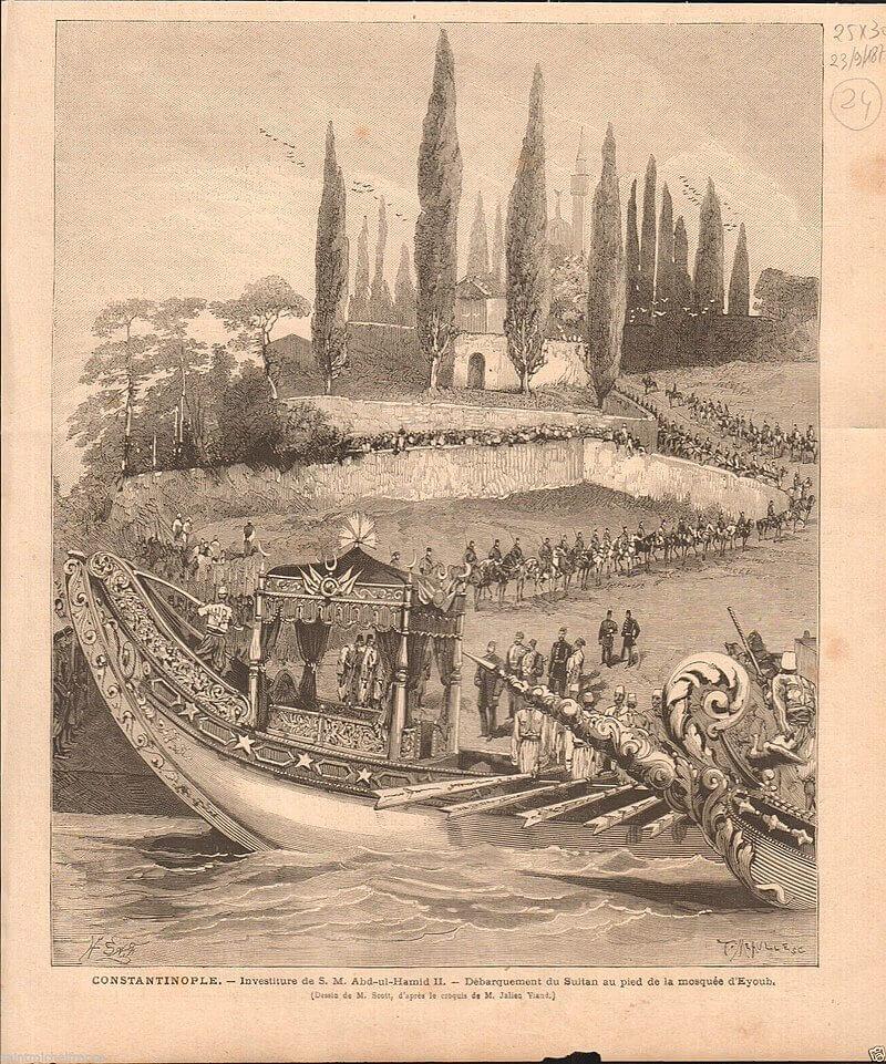 Султан Абдул-Хамид II на лодке прибывает в Эйюп.