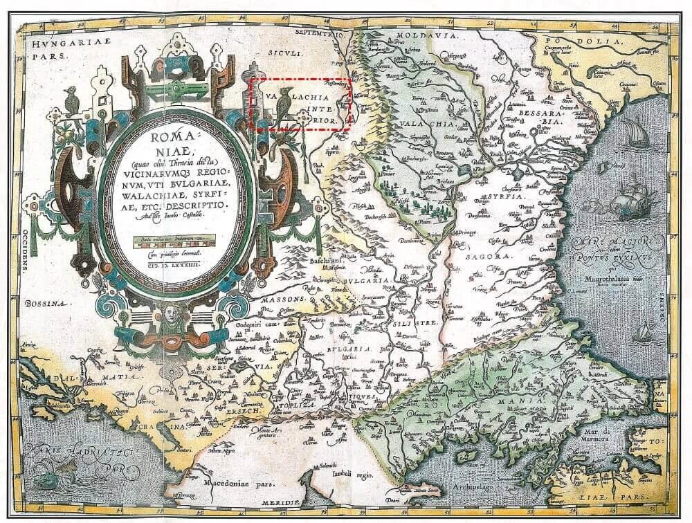 Валахия на голландской карте 1602 года.
