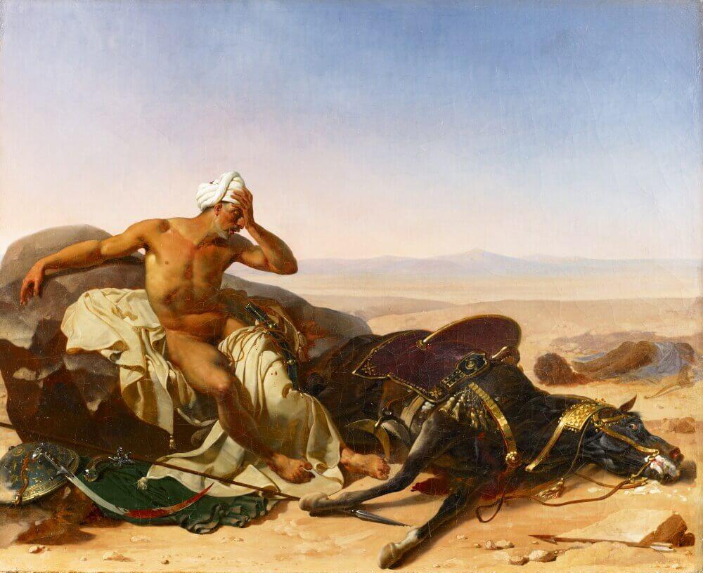 Жан-Батист Мозес «Араб, оплакивающий смерть своего коня»