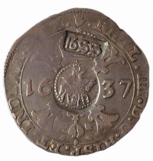 «Ефимок с признаком» (надчеканки 1655 года на брабантском талере 1637 года)