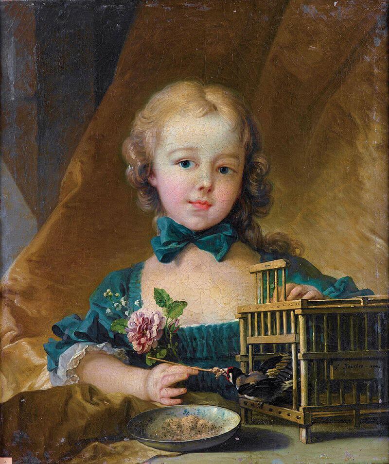 Дочь мадам де Помпадур, играющая с щеглом.