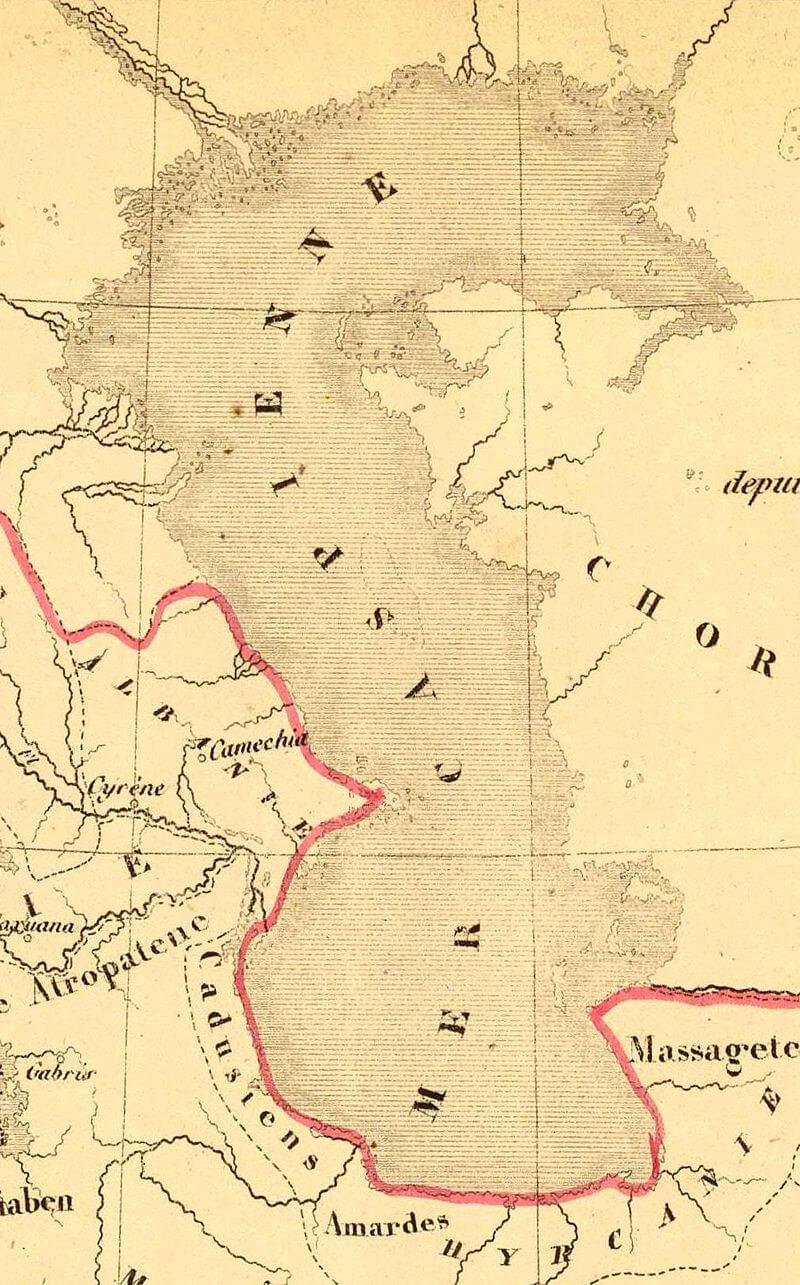 Кадусии на карте Антуана Филиппа Хузе, 1844 года