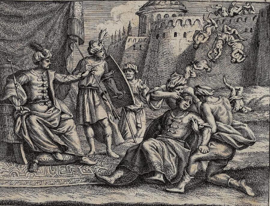 Ослепление Савджи. Гравюра из немецкого (1694) издания «Истории» Поля Рико