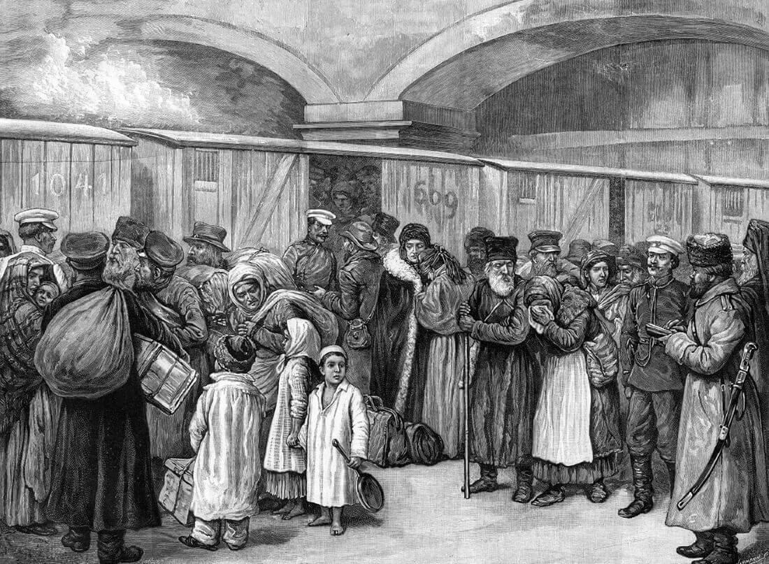 Выселение евреев в России. Иллюстрация из газеты The Illustrated London News. 1891 год