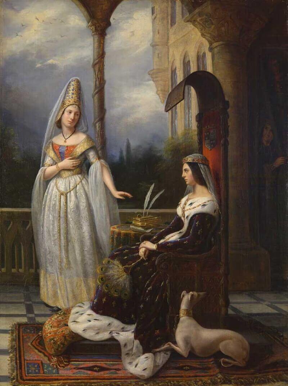 Анна Боррел «Валентина Миланская (жена брата короля Карла VI) и Одетта де Шамдивер», 1837