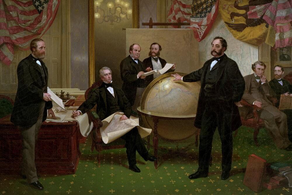 Художник Эмануэль Лойце «Подписание договора о продаже Аляски 30 марта 1867 года»