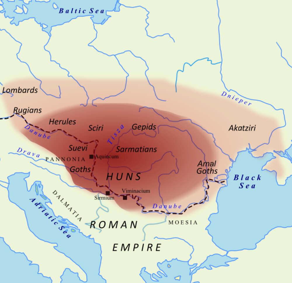 Империя гуннов ок. 450 года / © Slovenski Volk / ru.wikipedia.org