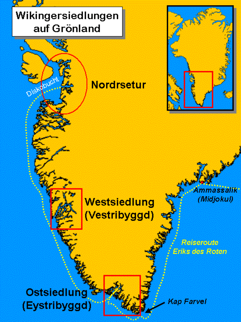 Карта трёх поселений, основанных исландскими переселенцами в Гренландии / Makemake / ru.wikipedia.org