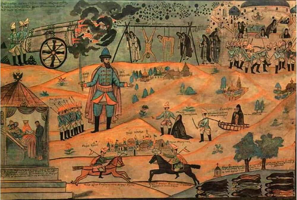 Лубок XIX века. Воевода Мещеринов подавляет Соловецкое восстание.