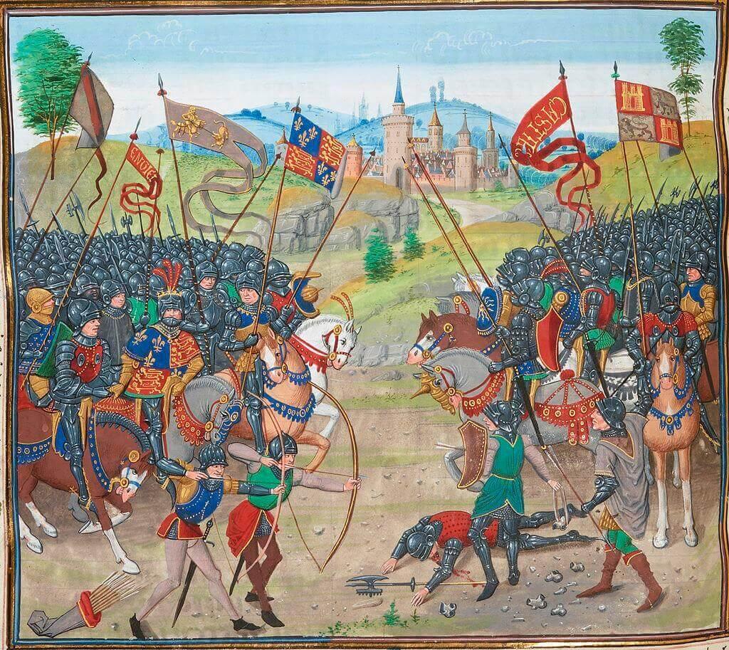 Миниатюра «Битва при Наваррете» из «Хроник» Фруассара