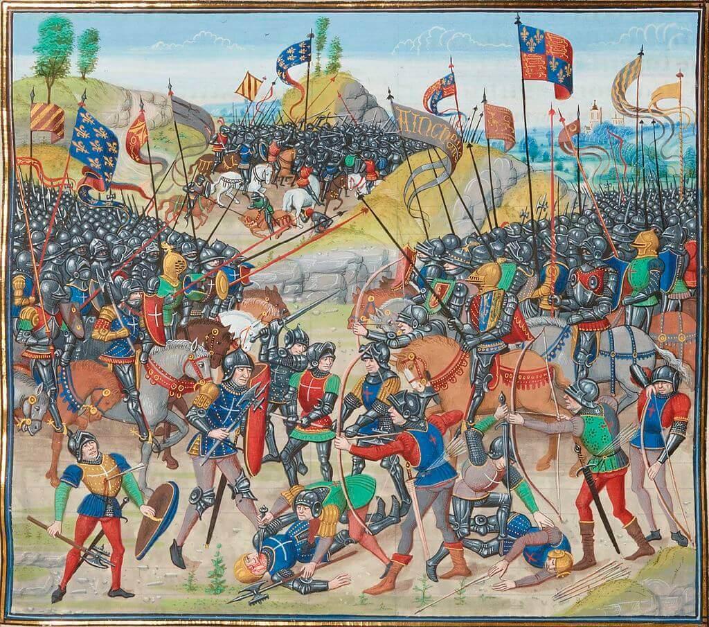 Миниатюра «Битва при Оре» из «Хроник» Фруассара