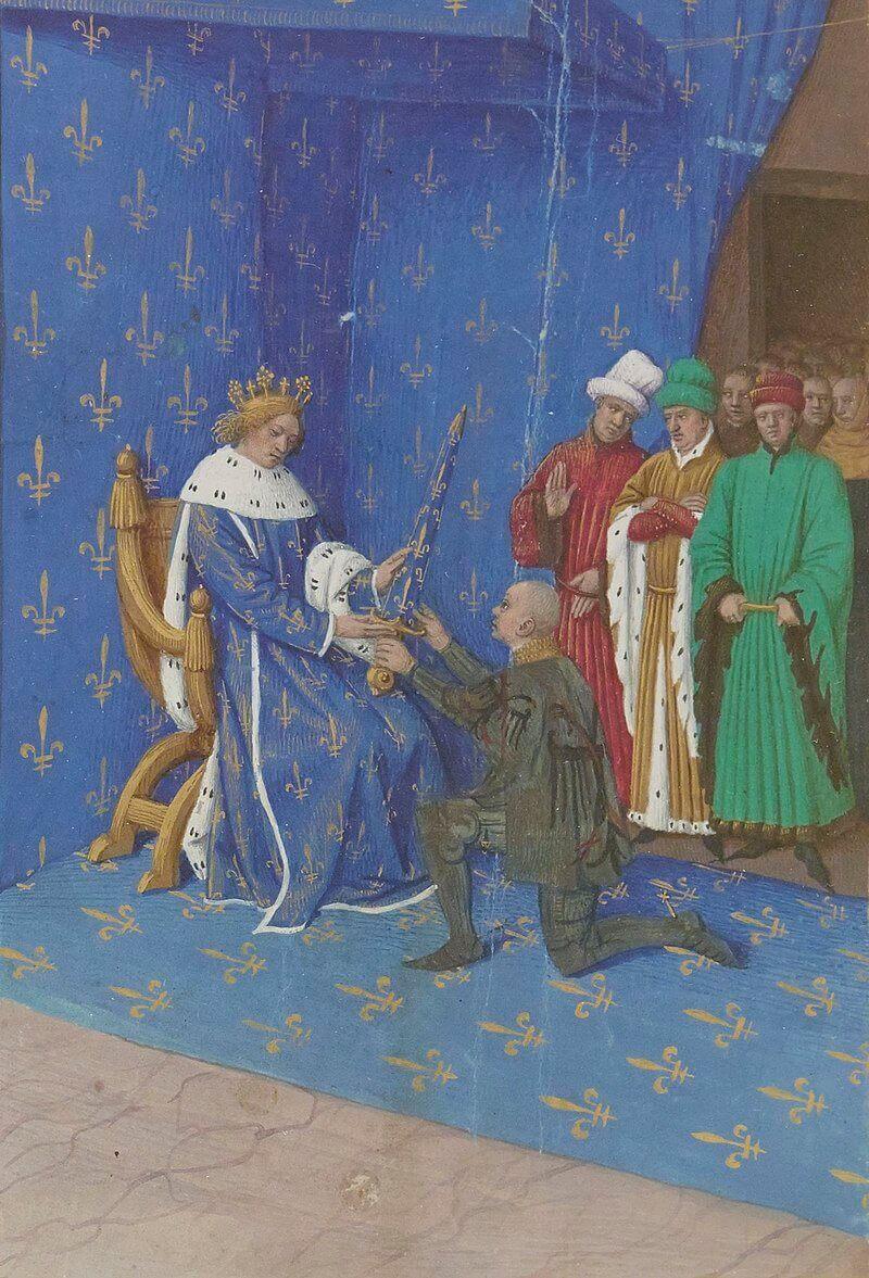 Миниатюра Ж. Фуке «Карл V и Бертран дю Геклен» из «Больших французских хроник». XV в.
