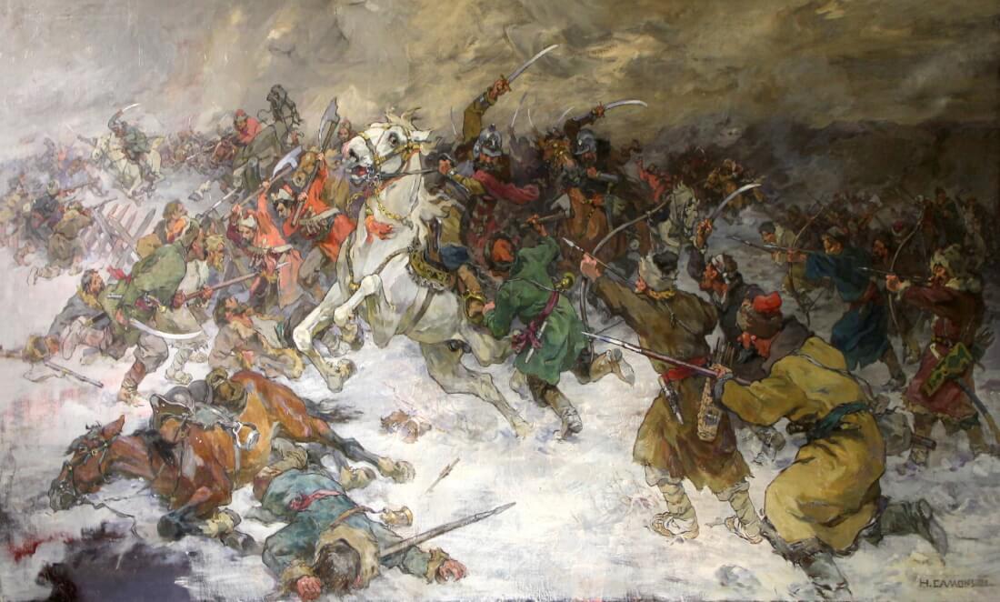 Николай Самокиш «Бой разинцев с правительственными войсками на реке Алатырь»