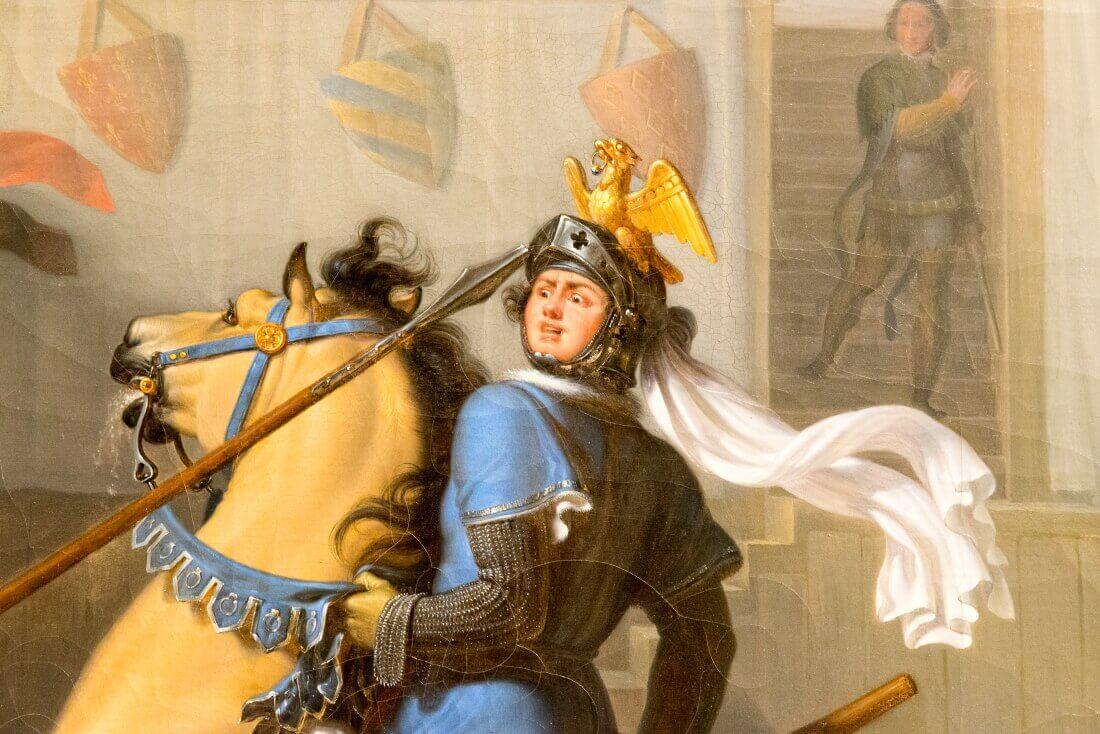 Фрагмент картины Пьера Ревой «Турнир» Во время рыцарства в Ренне в 1337 году неизвестный рыцарь побеждает всех своих противников, одному из них удается приподнять козырек своего шлема. Это Бертран дю Геклен, которому его отец запретил участвовать в этом турнире.