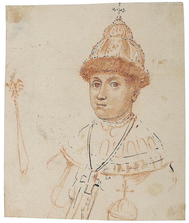 Погрудный портрет царя Федора Алексеевича с державой и скипетром