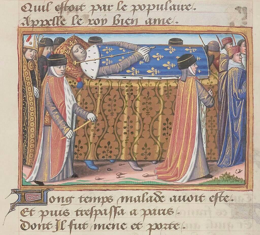 Похороны короля Карла VI. Миниатюра из «Вигилий на смерть короля Карла VII», около 1483 г