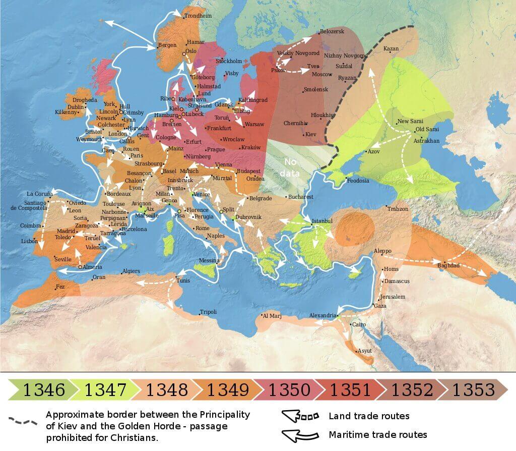 Распространение чумы в Европе и на Ближнем Востоке в 1346—1353 годы / © Flappiefh / ru.wikipedia.org