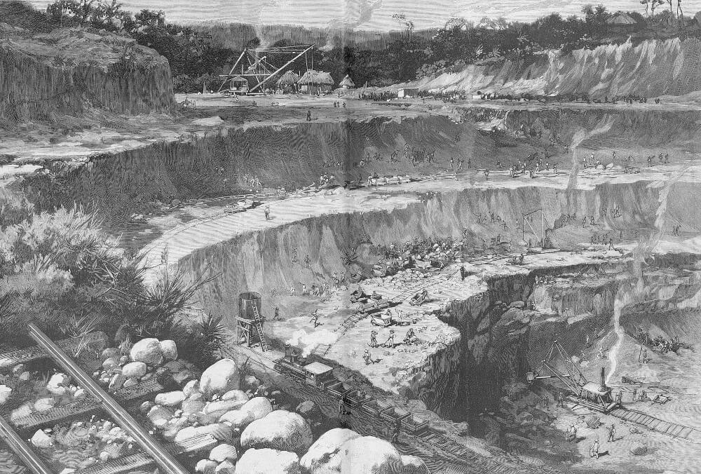 Строительство канала в 1885 году