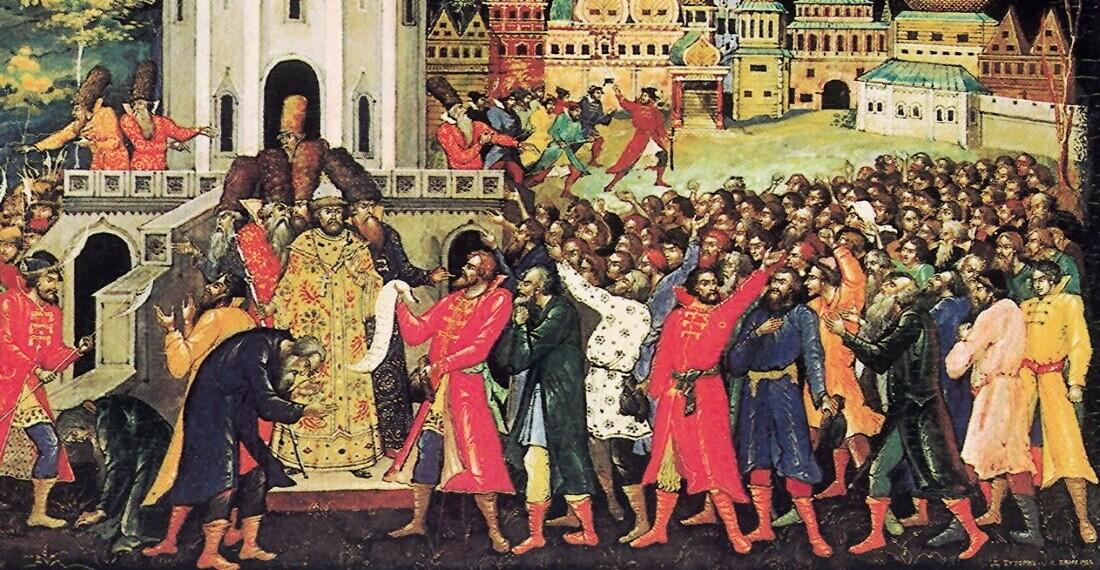 Толпа, передающая царю Алексею Михайловичу челобитную